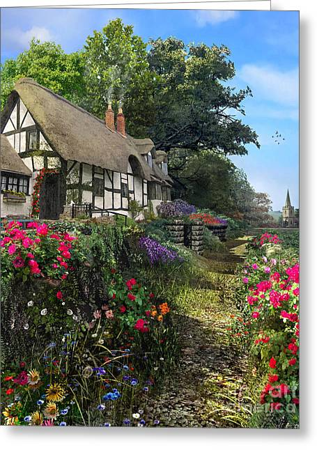 Dominic Davison Greeting Cards - Wisteria Cottage Greeting Card by Dominic Davison