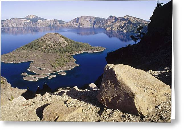 Wizard Island In Crater Lake Greeting Card by Gerry Ellis