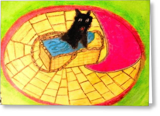Brick Pastels Greeting Cards - Wizard Of Oz Toto Greeting Card by Jo-Ann Hayden