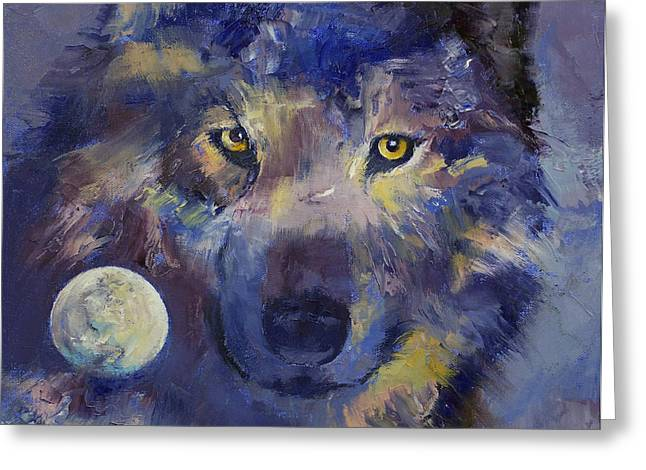 Wolf Moon Greeting Cards - Grey Wolf Moon Greeting Card by Michael Creese