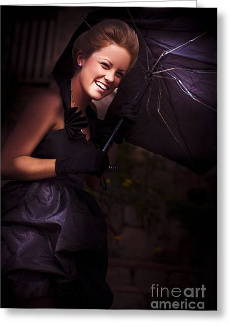 Youthful Greeting Cards - Woman And Broken Umbrella Greeting Card by Ryan Jorgensen
