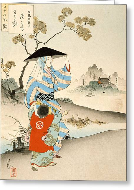 Family Love Greeting Cards - Woman and Child Greeting Card by Ogata Gekko
