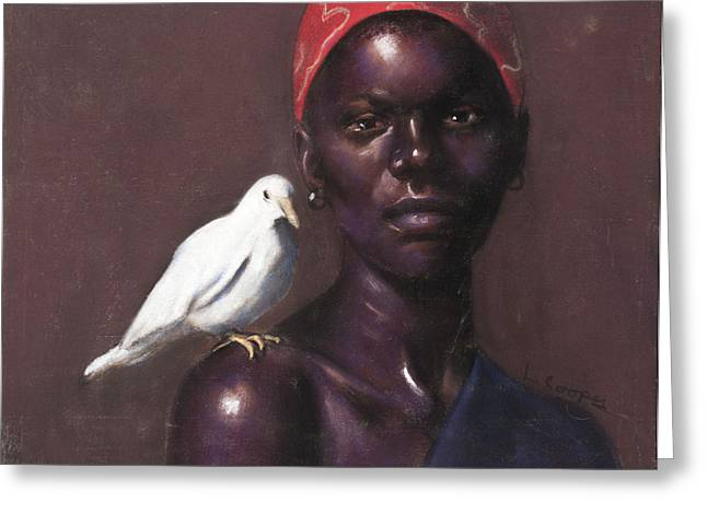 African Pastels Greeting Cards - Woman and Dove Greeting Card by L Cooper