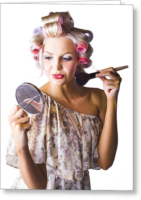 Woman Applying Makup Greeting Card by Jorgo Photography - Wall Art Gallery