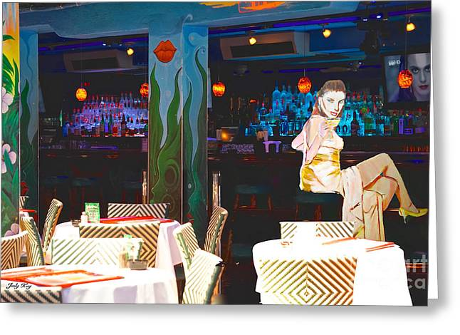 Night Club Greeting Cards - Woman at the Bar Greeting Card by Judy Kay