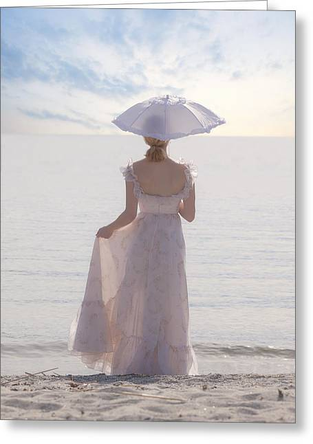 Dream Like Greeting Cards - Woman At The Beach Greeting Card by Joana Kruse