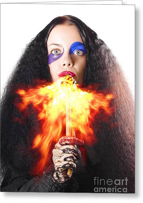 Youthful Photographs Greeting Cards - Woman breathing fire from mouth Greeting Card by Ryan Jorgensen