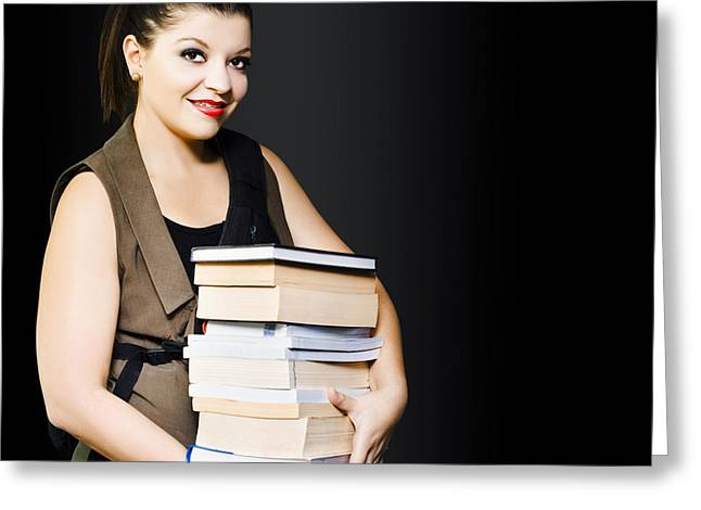 Woman Carrying Books From Library  Greeting Card by Jorgo Photography - Wall Art Gallery