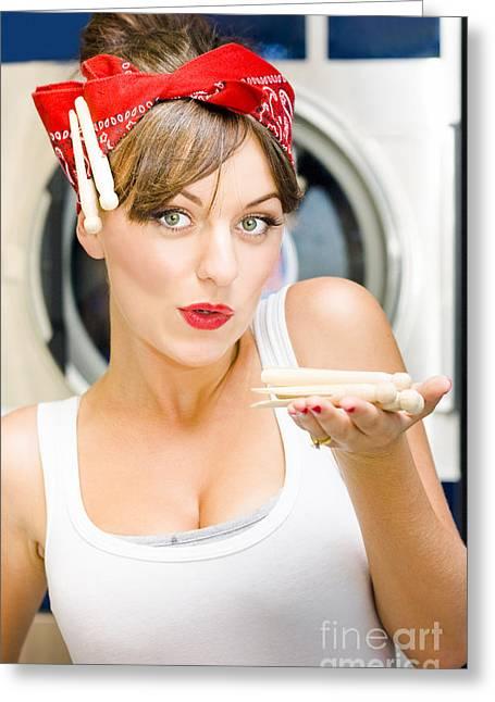 Hair-washing Photographs Greeting Cards - Woman Doing Washing Greeting Card by Ryan Jorgensen