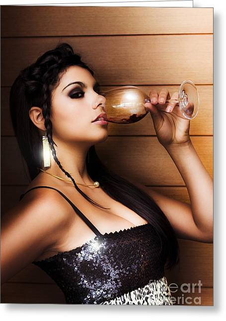 Woman Drinking At Nightclub Greeting Card by Jorgo Photography - Wall Art Gallery