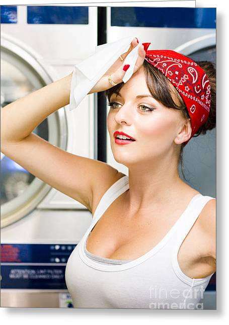 Hair-washing Greeting Cards - Woman Exhausted From Cleaning Greeting Card by Ryan Jorgensen