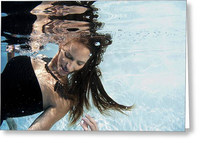 Evening Wear Photographs Greeting Cards - Woman Floats Underwater  Greeting Card by Hagai Nativ