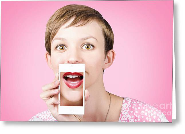 Gossiping Greeting Cards - Woman gossiping to friends on phone video chat  Greeting Card by Ryan Jorgensen