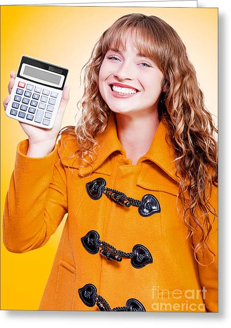 Expenditure Greeting Cards - Woman grinning with glee holding calculator Greeting Card by Ryan Jorgensen