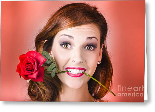 Clenched Teeth Greeting Cards - Woman gripping red rose between her teeth Greeting Card by Ryan Jorgensen