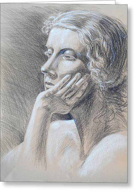 Shadows Drawings Greeting Cards - Woman Head Study Greeting Card by Irina Sztukowski