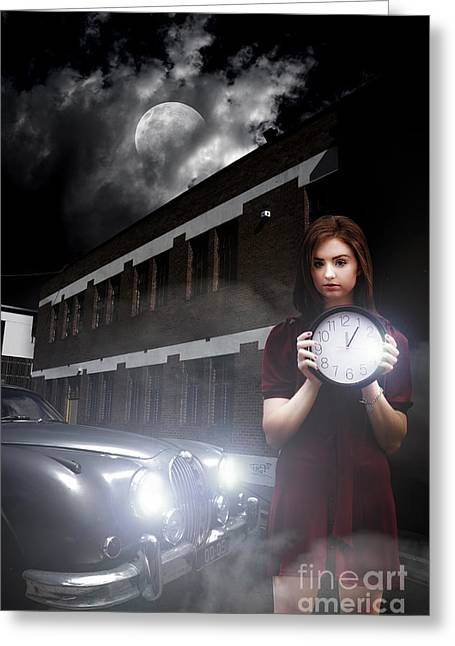 Moonlit Night Greeting Cards - Woman Holding Clock Greeting Card by Ryan Jorgensen