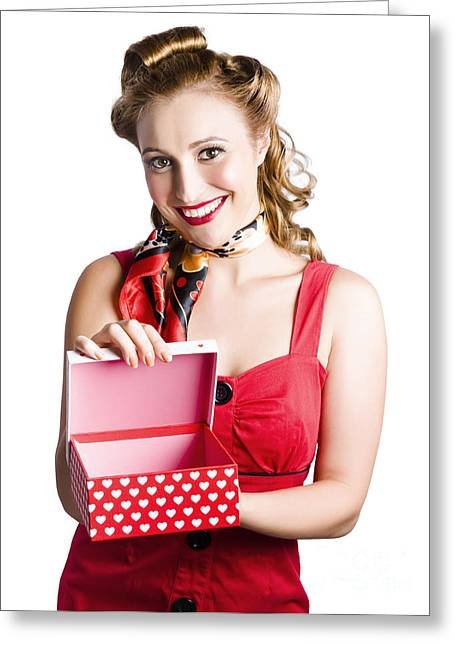 Straps Greeting Cards - Woman holding gift box Greeting Card by Ryan Jorgensen