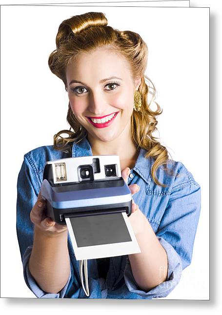Instant Camera Greeting Cards - Woman holding instant camera Greeting Card by Ryan Jorgensen