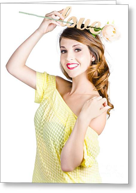 Gold Hair Greeting Cards - Woman holding message of love Greeting Card by Ryan Jorgensen