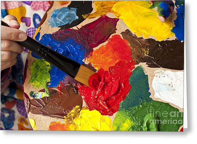 Acrylic Art Greeting Cards - Woman Holding Multicolored Palette Greeting Card by Jim Corwin