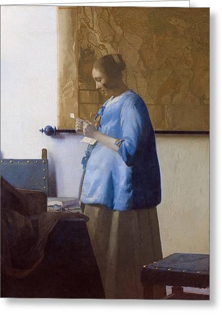 Jan Vermeer Greeting Cards - Woman in Blue Reading a Letter Greeting Card by Johannes Vermeer