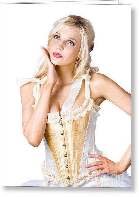 Woman In Corset Dress Greeting Card by Jorgo Photography - Wall Art Gallery