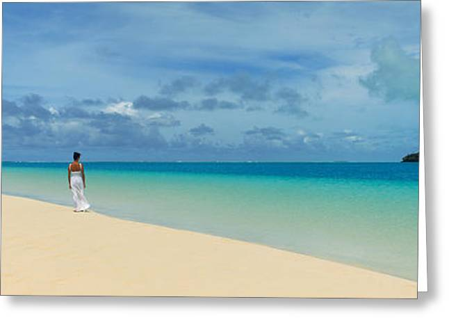 Women Only Greeting Cards - Woman In Distance On Sandbar, Aitutaki Greeting Card by Panoramic Images