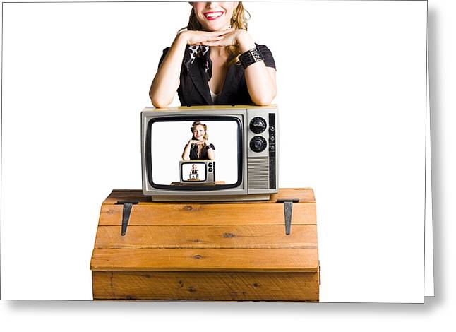 1950s Portraits Greeting Cards - Woman  in front of TV camera Greeting Card by Ryan Jorgensen