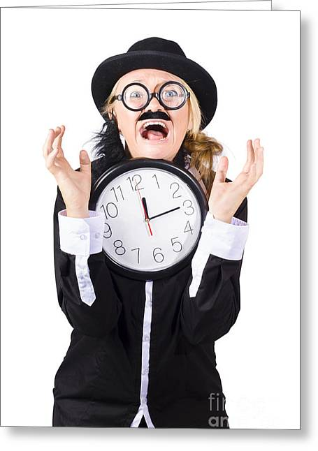 Despair Greeting Cards - Woman in panic with behind schedule clock Greeting Card by Ryan Jorgensen