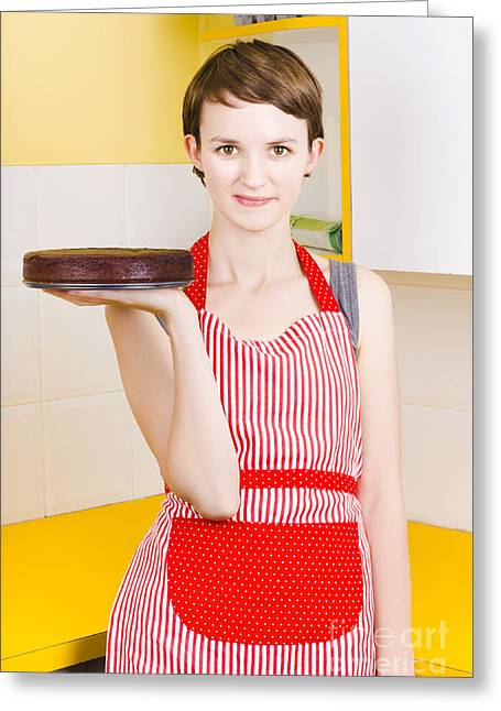 Apron Photographs Greeting Cards - Woman in Red Apron with Chocolate Cake Greeting Card by Ryan Jorgensen