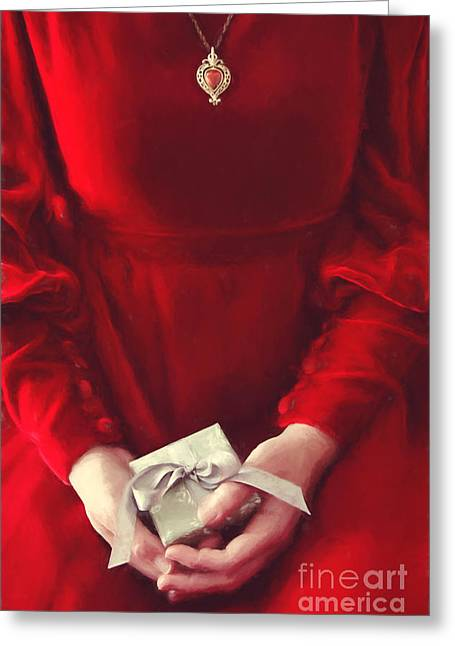 Digitally Altered Greeting Cards - Woman in red dress holding gift/ digital painting Greeting Card by Sandra Cunningham