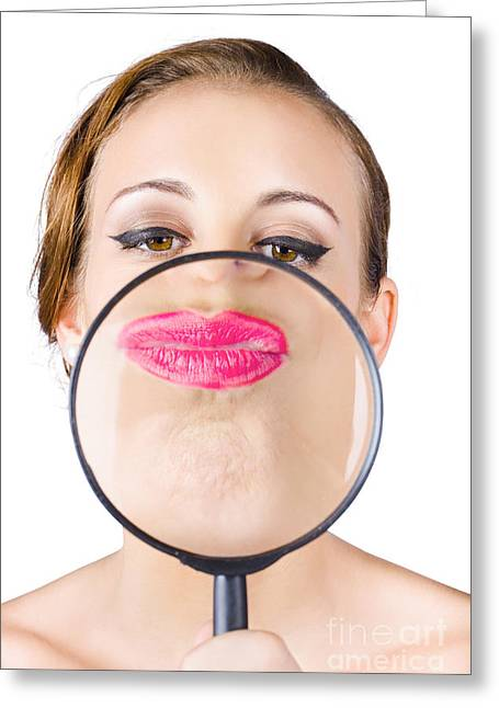 Youthful Greeting Cards - Woman kissing magnifying glass Greeting Card by Ryan Jorgensen