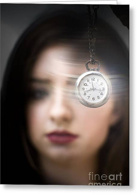 Woman Looking At Pocket Watch Greeting Card by Jorgo Photography - Wall Art Gallery