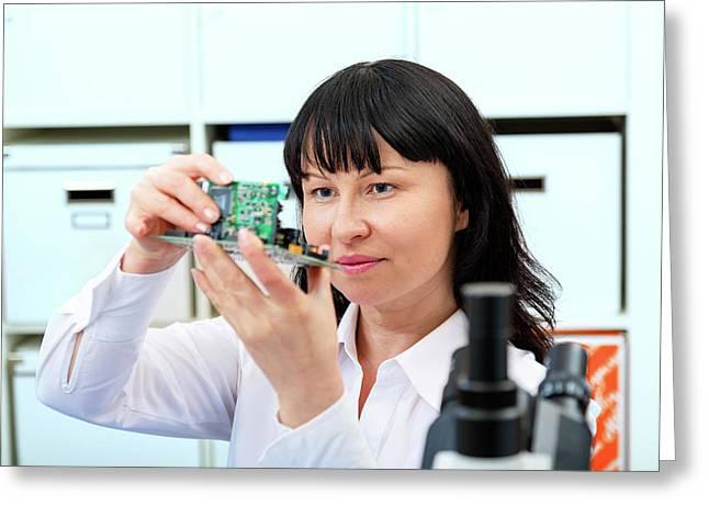 Woman Making A Micro Processor Greeting Card by Wladimir Bulgar