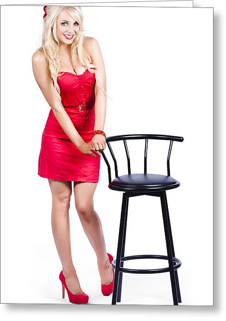 Hair Accessory Greeting Cards - Woman next to bar stool Greeting Card by Ryan Jorgensen