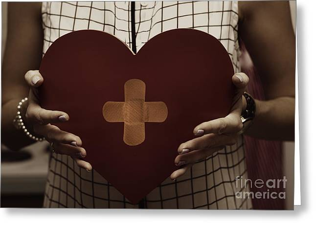 Forgiven Greeting Cards - Woman nursing broken heart from divorce Greeting Card by Ryan Jorgensen