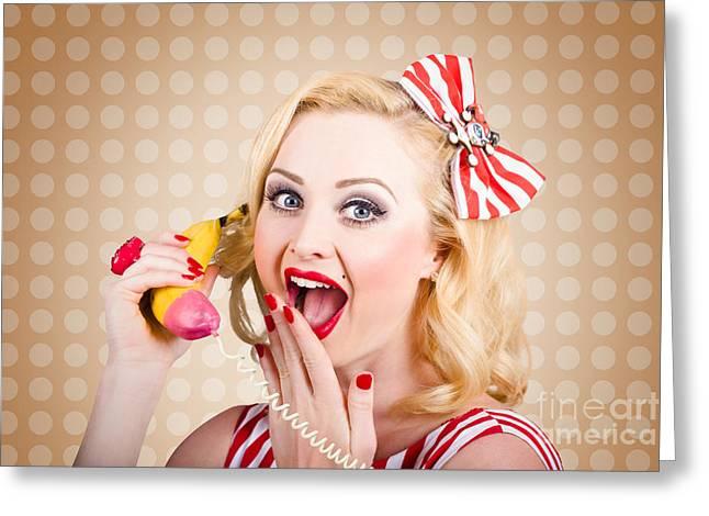 Phone Conversation Greeting Cards - Woman on banana telephone. Health eating news Greeting Card by Ryan Jorgensen