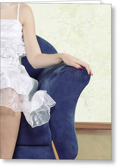 Wedding Garment Greeting Cards - Woman On Chair Greeting Card by Joana Kruse