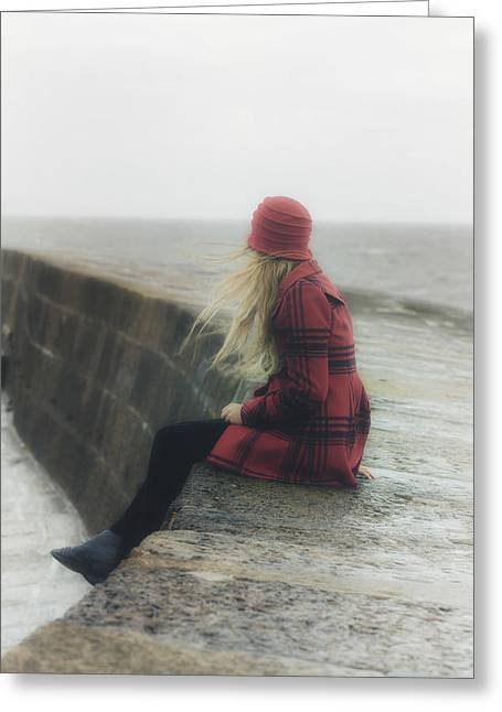 Cobb Greeting Cards - Woman On Pier Greeting Card by Joana Kruse