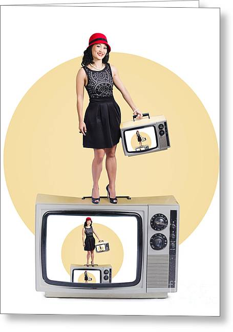 Woman On Retro Television Set Greeting Card by Jorgo Photography - Wall Art Gallery