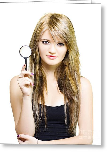 Woman On Search To Find Clues And Answer Questions Greeting Card by Jorgo Photography - Wall Art Gallery