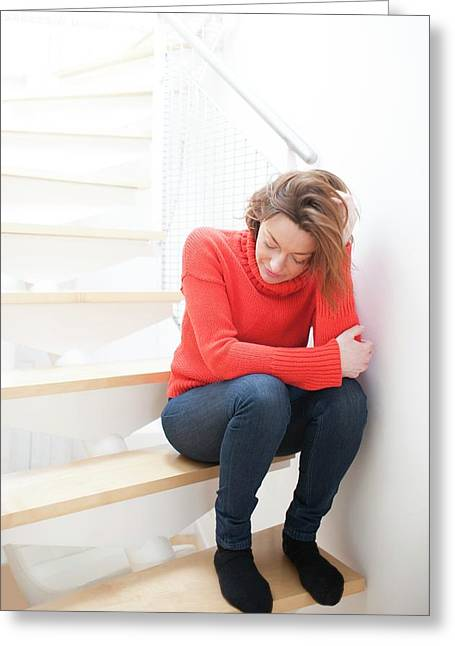Woman On Staircase Greeting Card by Ian Hooton