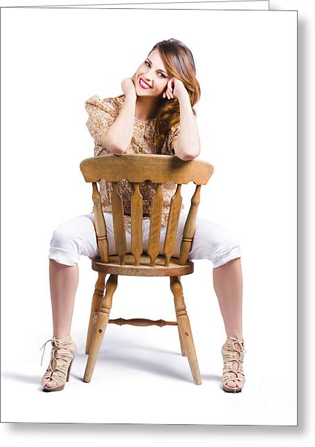 Woman Posing On Chair Greeting Card by Jorgo Photography - Wall Art Gallery