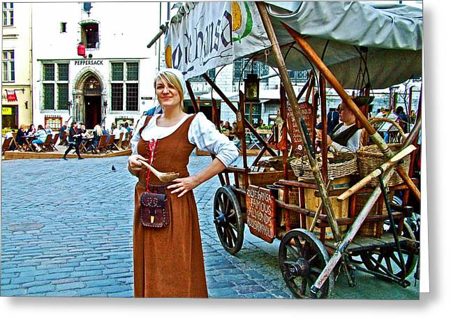 Tallinn Digital Greeting Cards - Woman Selling Sweetened Almonds in Old Town Tallinn-Estonia Greeting Card by Ruth Hager