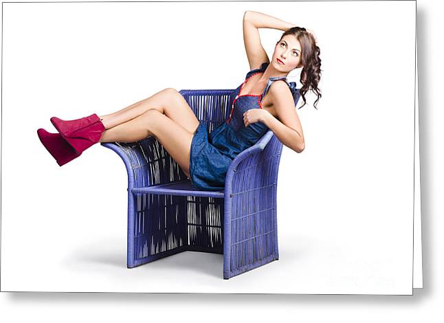 Casual Blue Jeans Greeting Cards - Woman sitting on a chair Greeting Card by Ryan Jorgensen