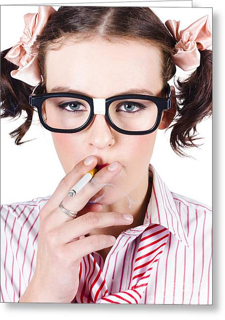 Youthful Greeting Cards - Woman smoking cigarette Greeting Card by Ryan Jorgensen