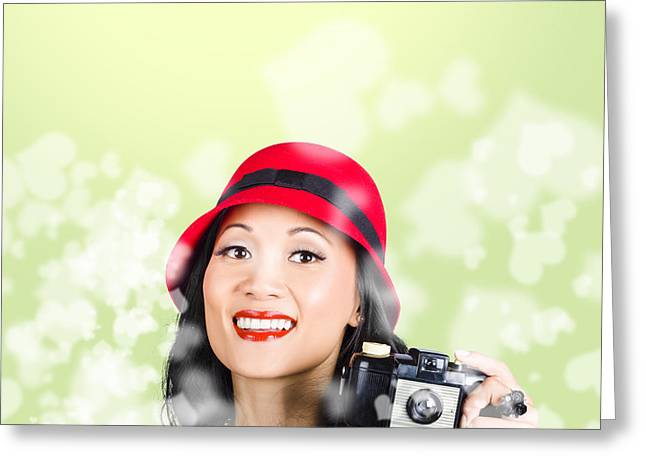Woman Taking Photographs With Vintage Camera Greeting Card by Jorgo Photography - Wall Art Gallery