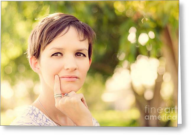 Woman Thinking At Rural Setting.  Green Idea Greeting Card by Jorgo Photography - Wall Art Gallery
