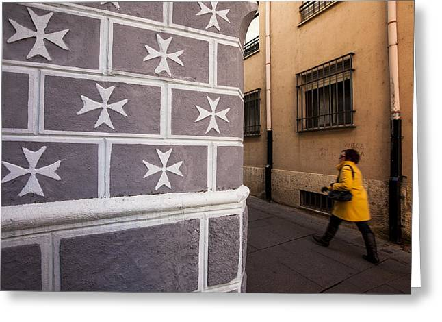 Castilla Greeting Cards - Woman walking in Zamora Greeting Card by Ruben Vicente